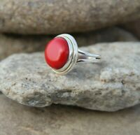 Solid 925 Sterling Silver Red Coral Round Shape Designer Handmade Ring All Size