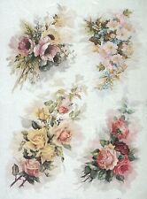 Rice paper -A/3 Vintage Roses 2- for Decoupage Decopatch Scrapbook Craft