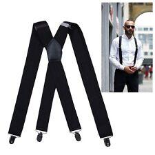 MENS BRACES BLACK SUSPENDER ELASTIC 50mm WIDE Durable Heavy Duty Trouser
