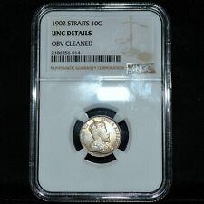 1902 STRAITS SETTLEMENTS 10 CENT ✪ NGC UNC DETAILS ✪ 10C EDWARD VII ◢TRUSTED◣