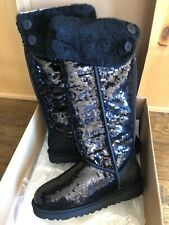 NEW UGG OVER THE KNEE SPARKLES SEQUINS  BLACK 9 NEW HOLOGRAM INSIDE FUR RARE!