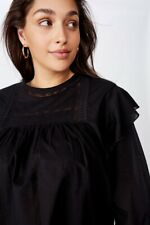 Cotton On Womens Curve Smock Lace Blouse Curve  In  Black