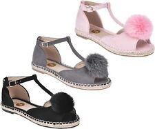 S377 - Ladies T-bar Espadrilles Peep Toe Flat Pom Hessian Sandals - UK 3-8