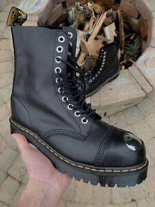 Dr. Martens 8761 Bxb Toe Cap Boots BLACK LUXOR 25037001 Military Army Rock Punk