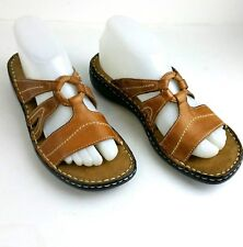 Natural Soul by Naturalizer Ceria Leather Slides Wedge Sandal Brown Size 8M