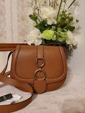 Lauren Ralph Lauren Barrington Saddle Crossbody Bag Large Leather Brown $278