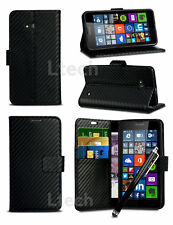 "For OnePlus 3T (5.5"") - Carbon Fibre Flip Wallet Case Cover & Stylus"