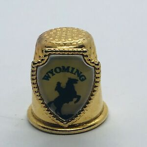 Wyoming Souvenir State Gold Tone Metal Thimble