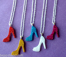 Funky Stiletto High Heels Ladies GLITTER Necklace Pendant Chain Hen Party Gift