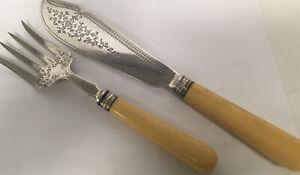 HM Solid Silver Fish Servers Bone Handles  London Silver Fredrick Elkington 1880