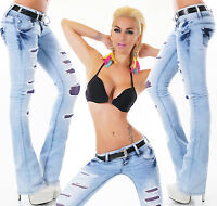 Women's Low Cut Hipster Bootcut Jeans Blue Lace Jeans Trousers Belt included