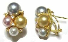 """White, Pink, Gray, Champagne Shell Pearl Cluster Sterling Silver CZ Earrings"""