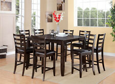 Fairwinds 9pc counter height dining set table + 8 leather seat chairs cappuccino