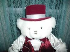 """White Plush stuffed Bear 2001 burgundy satin/velvet costume with hat 24"""""""