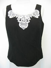 KASPER black sleeveless top with white flower lace size 6, NWOT