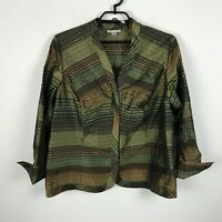 Coldwater Creek Blouse Plus Size 1X Brown Green Plaid 3/4 Sleeve Career Womens