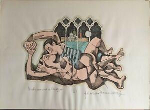 Bonciani Adorno litografia acquerellata mano Matrimonio a Venezia IV  50x70
