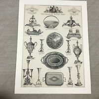 1880 Originale Vittoriano Stampa Argento Samovar Advertising Antico 19th Secolo