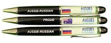 PROUD AUSSIE - RUSSIAN AUSTRALIAN METAL PEN RUSSIA SOUVENIR GIFT FLOATING FLAGS