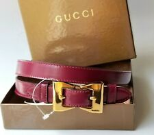 "GUCCI belt logo bow buckle purple leather 85 cm 34 "" new in box $530"