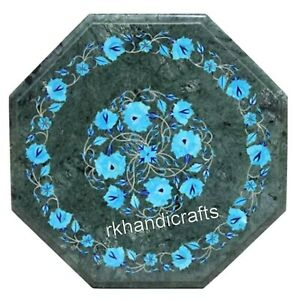 16 Inches Green Marble Coffee Table Floral Work with Gemstones Bed End Table Top