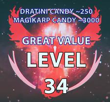 Pokemon-Go-Account   Level 30-34-35   AUTO SEND  DRATINI CANDY! 1.000k STARDUST