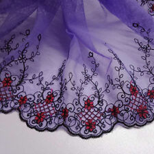 Purple Mesh Red Flower Lace Trim Edge Tulle Wed Mesh Fabric Craft 1Yd 21CM Width