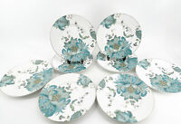 "222 FIFTH Eliza Teal Blue Salad Plates Set Of 8 8.75"" White w/ Teal & Gold EUC"