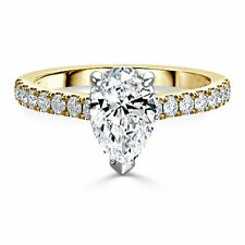 2.35 Ct Pear Cut Diamond Solitaire Engagement Ring 14K Real Yellow Gold Size P