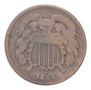 TWO CENT - 1864 US TWO 2 Cent Piece - First Coin with In God We Trust Motto *031