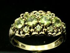 R279 Genuine 9ct 9K Solid Yellow Gold NATURAL Peridot Cluster Ring size 8