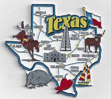TEXAS TX  JUMBO STATE  MAP  MAGNET   7 COLOR  AUSTIN DALLAS LAREDO HOUSTON