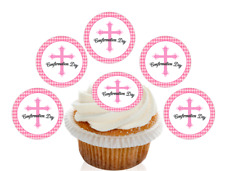 12 Pre Cut Pink Holy Confirmation Day Edible Cupcake Decorations Toppers