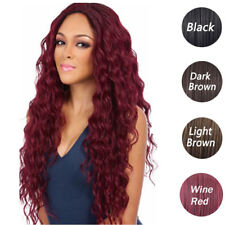 """UK Full 27"""" Women Curly Wavy Long Hair Wig Black Brown Red Wig Lace Front Wig"""