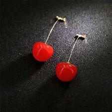 Boucles d'oreilles Clous Doré Une Gros Cerise Rouge Long  DD13