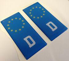 2x D German Deutche Euro Gel 3D Number Plate Side Badge Badges for METAL PLATES