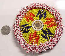 1920s antique kuchi tribal beaded medallion mandala rams horns motif 49871