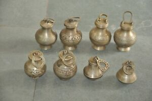 8 Pc Old Brass Handcrafted Small/Penny Engraved Holy Water Pots