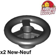 Lego - 2x vehicle voiture Steering Wheel Small volant noir/black 30663 NEUF