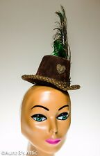 Steampunk Hat Hand Decorated Brown Suede Look Ladies Victorian Mini Top Hat OS