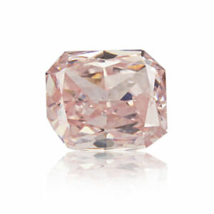 Natural Pink Diamond 0 .11 Ct Fancy GIA Certified Real Orangy Color Radiant Cut