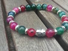 Handmade Beaded Stone Bracelet, Rainbow Agate Beads Silver Buddha Red Green