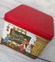 Vintage Potpourri Press Tin Container School House Christmas Scene 4.5x4.5x3.5