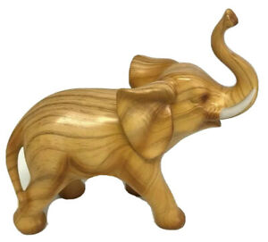 Beautiful Carved Wooden Elephant Figure Trunk Up Honey Wood Colour