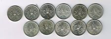 11 different 5p five pence coins 1968 - 1971, 1975 1978 1979 1980 1987 1988 1989