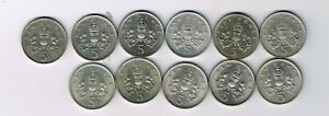 11 different 5p five pence coins 1968 - 1971, 1975, 1978-1980, 1987, 1988, 1989