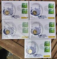 5x 2 € 2012 Numisbrief ADFGJ WORLD MONEY FAIR Bundesländer BRD DEUTSCHL. BAYERN