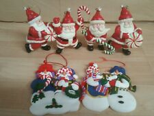 Santa's and snowman family Christmas fun color ornaments lot of five