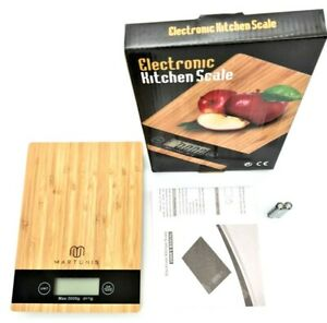 5kg Bamboo Wooden Digital LCD Electronic Kitchen Cooking Food Weighing Scales