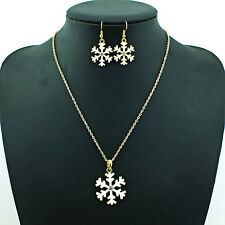 White Enamel Christmas Little Crystal Snowflake Necklace &Earrings Set Xmas Gift